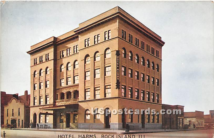 Hotel Harms - Rock Island, Illinois IL Postcard