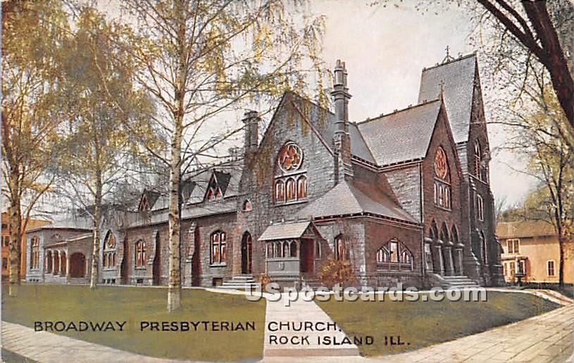 Broadway Presbyterian Church - Rock Island, Illinois IL Postcard