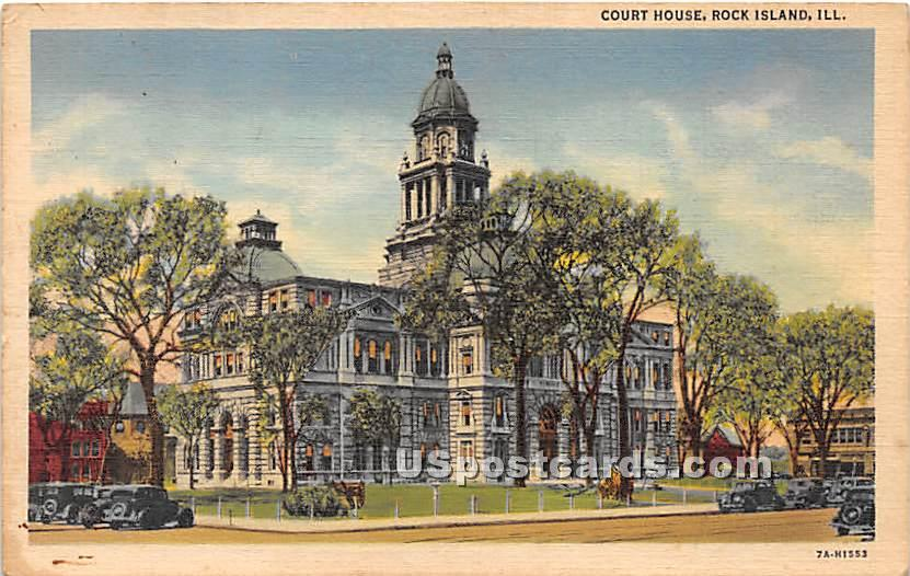 Court House - Rock Island, Illinois IL Postcard