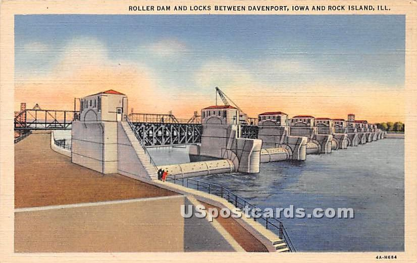 Roller Dam & Locks, Davenport Iowa - Rock Island, Illinois IL Postcard