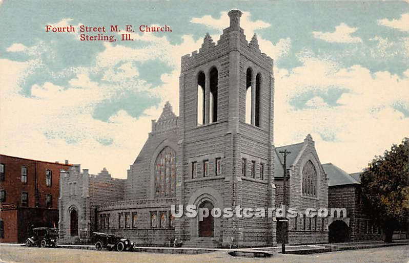 Fourth Street ME Church - Sterling, Illinois IL Postcard