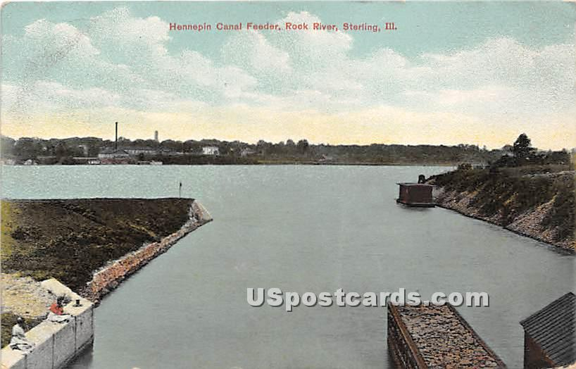 Hennepin Canal Feeder, Rock River - Sterling, Illinois IL Postcard