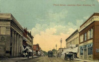 Third Street - Sterling, Illinois IL Postcard