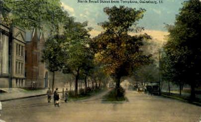 Broad Street - Galesburg, Illinois IL Postcard