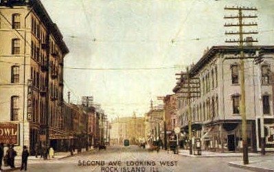 Second Avenue - Rock Island, Illinois IL Postcard