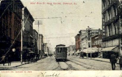 Main Street - Danville, Illinois IL Postcard