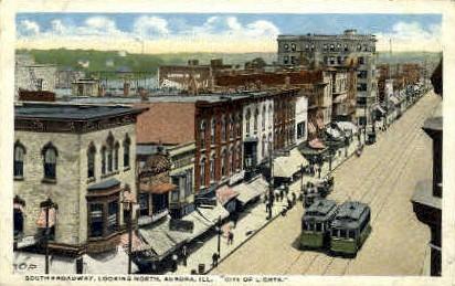 Broadway Street - Aurora, Illinois IL Postcard