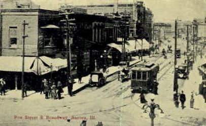 Fox Street & Broadway - Aurora, Illinois IL Postcard
