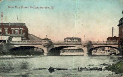 Fox Street Bridge - Aurora, Illinois IL Postcard