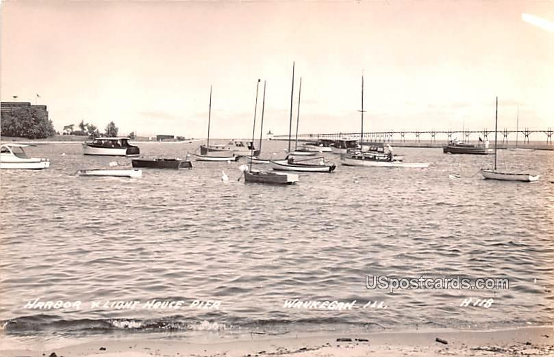 Harbor and Light House Pier - Waukegan, Illinois IL Postcard