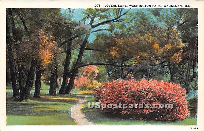 Lovers Lane, Washington Park - Waukegan, Illinois IL Postcard