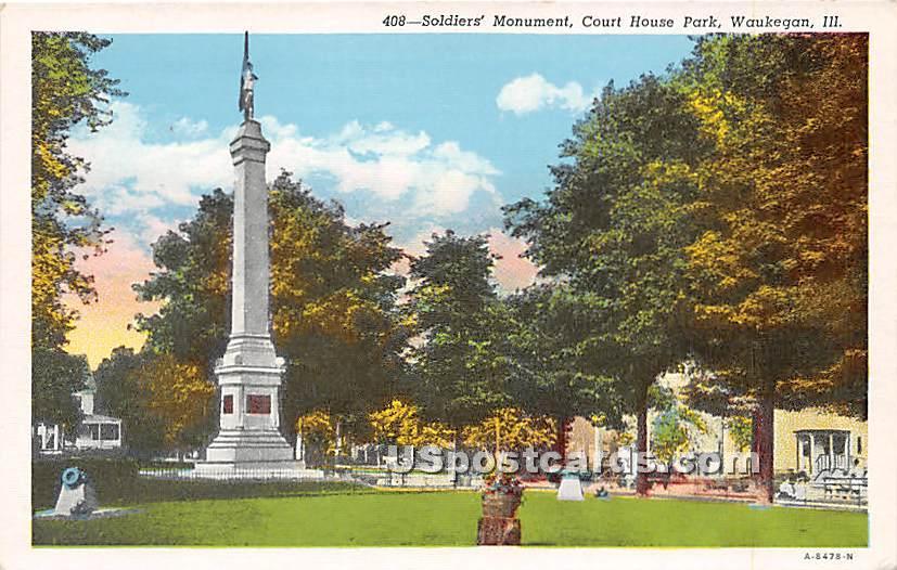 Court House Park - Waukegan, Illinois IL Postcard