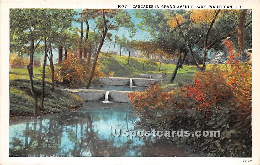 Cascades, Grand Avenue Park - Waukegan, Illinois IL Postcard