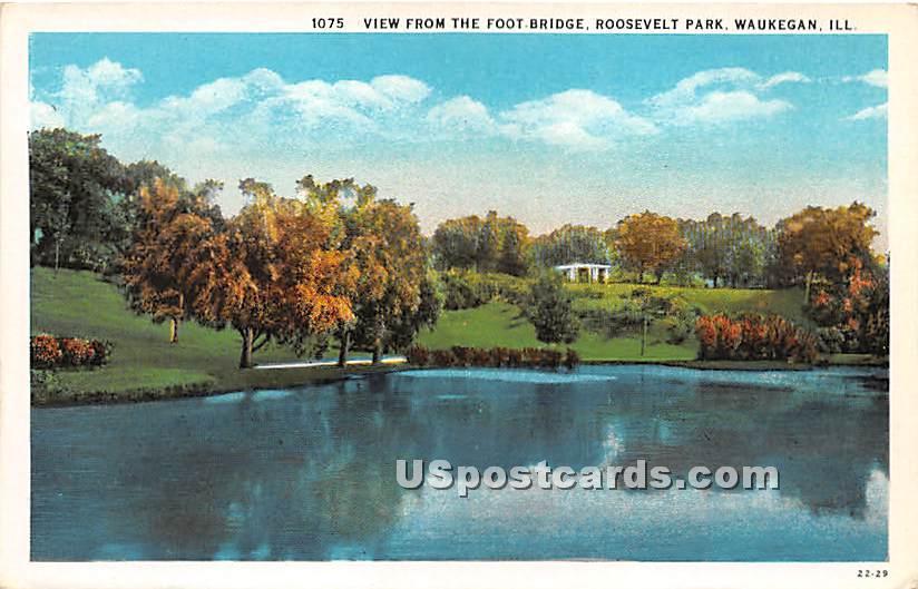 Foot Bridge, Roosevelt Park - Waukegan, Illinois IL Postcard