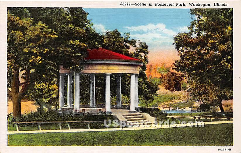 Roosevelt Park - Waukegan, Illinois IL Postcard