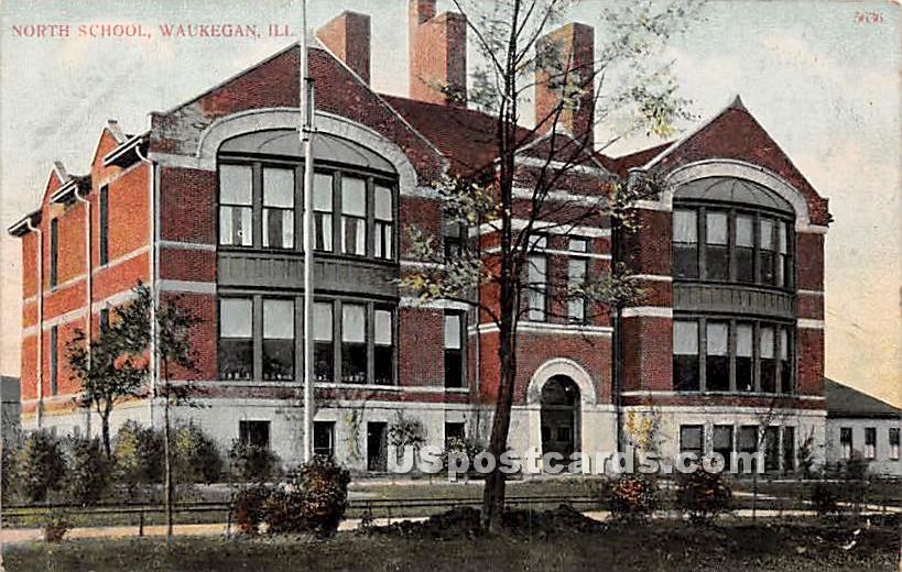 North School - Waukegan, Illinois IL Postcard