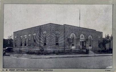 U.S. Post Office - Alexandria, Indiana IN Postcard