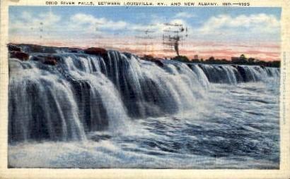 Ohio River Falls - Albany, Indiana IN Postcard