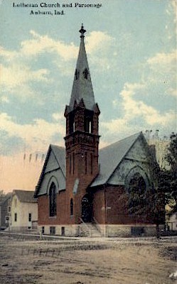 Lutheran Church and Parsonage - Auburn, Indiana IN Postcard