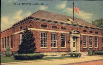 The U.S. Post Office - Auburn, Indiana IN Postcard