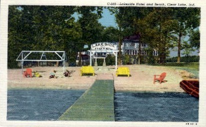 Lakeside Hotel and Beach - Clear Lake, Indiana IN Postcard