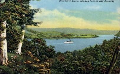 Ohio River Scene - Misc, Indiana IN Postcard