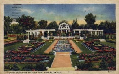 Sunken Gardens in Lakeside Park - Fort Wayne, Indiana IN Postcard