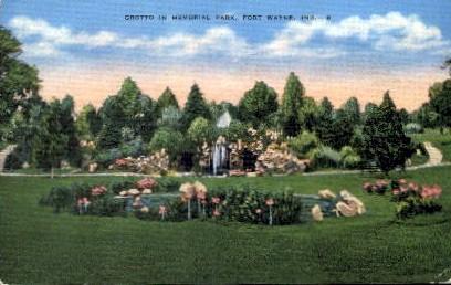 Grotto in Memorial Park - Fort Wayne, Indiana IN Postcard