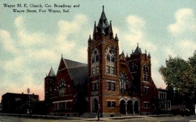 Wayne M.E. Church - Fort Wayne, Indiana IN Postcard