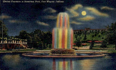Electric Fountain in Reservoir Park - Fort Wayne, Indiana IN Postcard