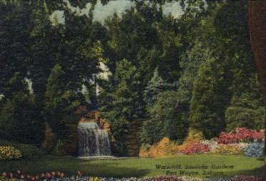 Waterfall, Jaenicke Gardens - Fort Wayne, Indiana IN Postcard
