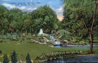 Japanese Gardens, Swinney Park - Fort Wayne, Indiana IN Postcard
