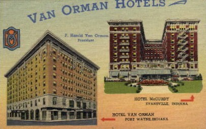 Van Orman Hotels - Fort Wayne, Indiana IN Postcard