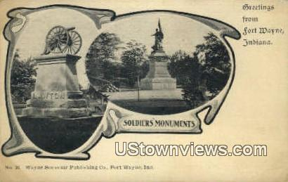 Soldier's Monument - Fort Wayne, Indiana IN Postcard