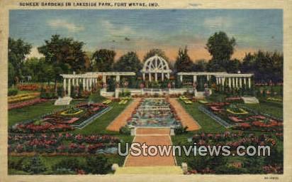 Sunken Gardens, Lakeside Park - Fort Wayne, Indiana IN Postcard