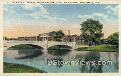 St. Joe River, North Side High School - Fort Wayne, Indiana IN Postcard