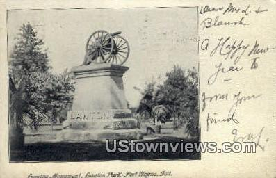 Lawton Monument, Lawton Park - Fort Wayne, Indiana IN Postcard