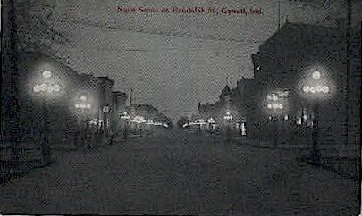 Night Scene on Randolph St. - Garrett, Indiana IN Postcard