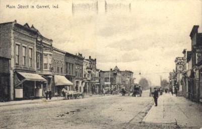 Main Street - Garrett, Indiana IN Postcard