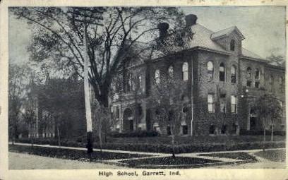 High School - Garrett, Indiana IN Postcard