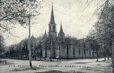 Sts. Peter and Paul Church - Garrett, Indiana IN Postcard