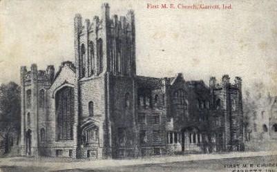 First M.E. Church - Garrett, Indiana IN Postcard