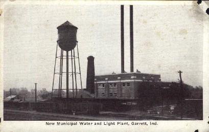 New Municipal Water and Light Plant - Garrett, Indiana IN Postcard
