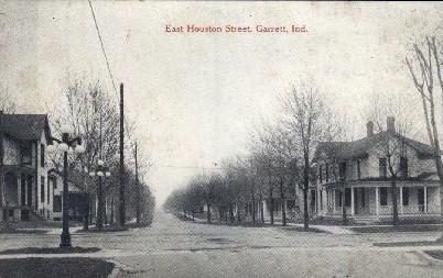 East Houston Street - Garrett, Indiana IN Postcard