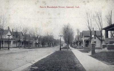 So. Randolph St. - Garrett, Indiana IN Postcard