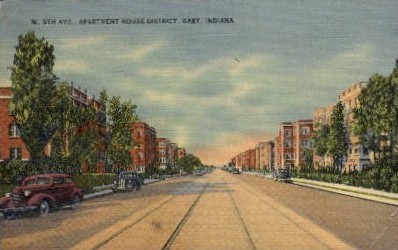 W. 5th Ave., Apartment House District - Gary, Indiana IN Postcard