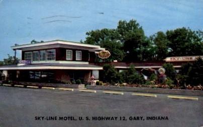 Sky-Line Motel, U.S. Highway 12 - Gary, Indiana IN Postcard