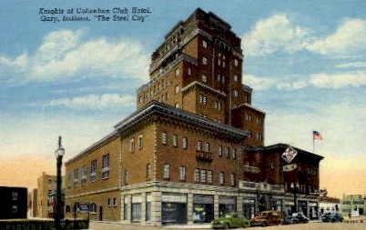 Knights of Columbus Club Hotel - Gary, Indiana IN Postcard