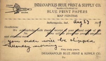 Indianapolis Blue Prints & Supplu Co. - Indianapolis Postcards Postcard