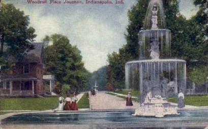 Woodruff Place Fountain - Indianapolis Postcards, Indiana IN Postcard